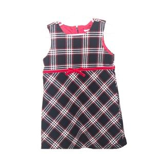 Toddler Plaid Dress - White, Black and Red